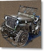 Willys Car Drawing Metal Print