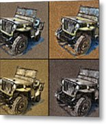 Willys Jeep Mb Car Drawing Metal Print