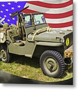 Willys World War Two Army Jeep And American Flag Metal Print