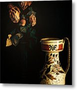 Wilted Roses With Italian Vase Metal Print