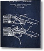 Winchester Firearm Patent Drawing From 1877 - Navy Blue Metal Print