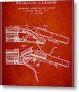 Winchester Firearm Patent Drawing From 1877 - Red Metal Print