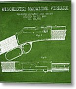 Winchester Firearm Patent Drawing From 1888- Green Metal Print