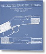 Winchester Firearm Patent Drawing From 1888- Light Blue Metal Print
