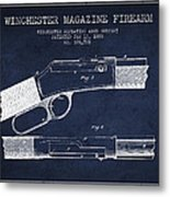 Winchester Firearm Patent Drawing From 1888- Navy Blue Metal Print