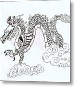 Wind And Cloud Dragon Metal Print