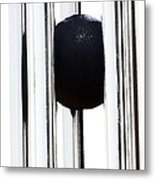 Wind Chime In Black And White Metal Print