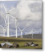 Wind Farm By Cattle Ranch In Washington State Metal Print