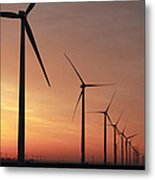 Wind Farm Sunrise Metal Print