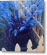Wind In The Grass - Blue Metal Print