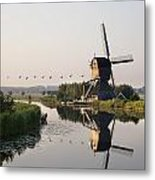 Wind Mill On A Canal, Holland Metal Print
