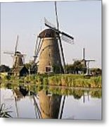 Wind Mills Next To Canal, Holland Metal Print
