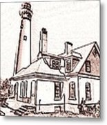 Wind Point Lighthouse Drawing Mode 1 Metal Print