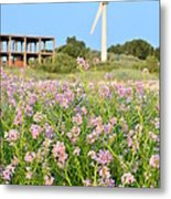 Wind Turbine And Flowers Metal Print by Gynt