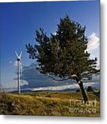 Wind Turbine And Tree On The Plateau Of  Cezallier. Auvergne. France. Metal Print