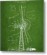 Wind Turbine Patent From 1944 - Green Metal Print