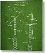 Wind Turbine Rotor Blade Patent From 1995 - Green Metal Print
