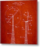 Wind Turbine Rotor Blade Patent From 1995 - Red Metal Print