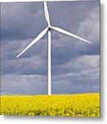 Wind Turbine With Rapeseed Metal Print