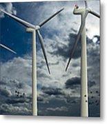 Wind Turbines Blue Sky Metal Print