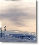 Wind Turbines In Winter Metal Print by Bernard Jaubert