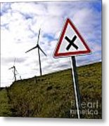 Wind Turbines On The Edge Of A Field With A Road Sign In Foreground. Metal Print