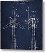 Wind Turbines Patent From 1984 - Navy Blue Metal Print