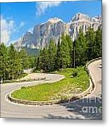 Winding Road To Pordoi Pass Metal Print