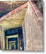 Winding Square Staircase Of Old Brick-walled Tower Metal Print