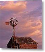 Windmill And Barn Sunset Metal Print