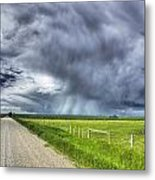 Windmill And Country Road With Storm Metal Print
