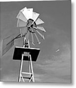 Windmill And Passing Plane Metal Print