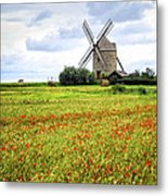 Windmill And Poppy Field In Brittany Metal Print