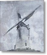 Windmill At Damme In Belgium Countryside Metal Print
