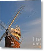 Windmill At Dusk On The Norfolk Broads In Autumn Metal Print