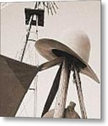 Windmill Canteen And Cowboy Hat 4 Metal Print