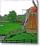Windmill In A Park In Enkhuizen-netherlands Metal Print