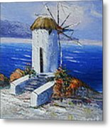 Windmill In Greece Metal Print