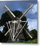 Windmill In Dutch Countryside Metal Print
