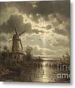 Windmill In The Moonlight Metal Print