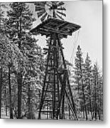 Windmill In The Snow Black And White Metal Print