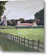 Windmill On Farm Metal Print