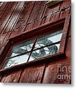 Windmill Reflected In Barn Window Metal Print