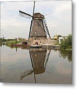 Windmill Reflection Metal Print