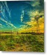 Windmill Sunset Metal Print by  Caleb McGinn