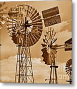 Windmills In Sepia Metal Print