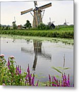 Windmills Of Kinderdijk With Flowers Metal Print