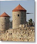 Windmills Of Rhodos - Port Of The Myloi Metal Print