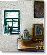 Window And Little Dressing Table In An Old Thatched Cottage Metal Print