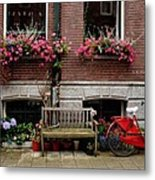 Window Box Bicycle And Bench  -- Amsterdam Metal Print